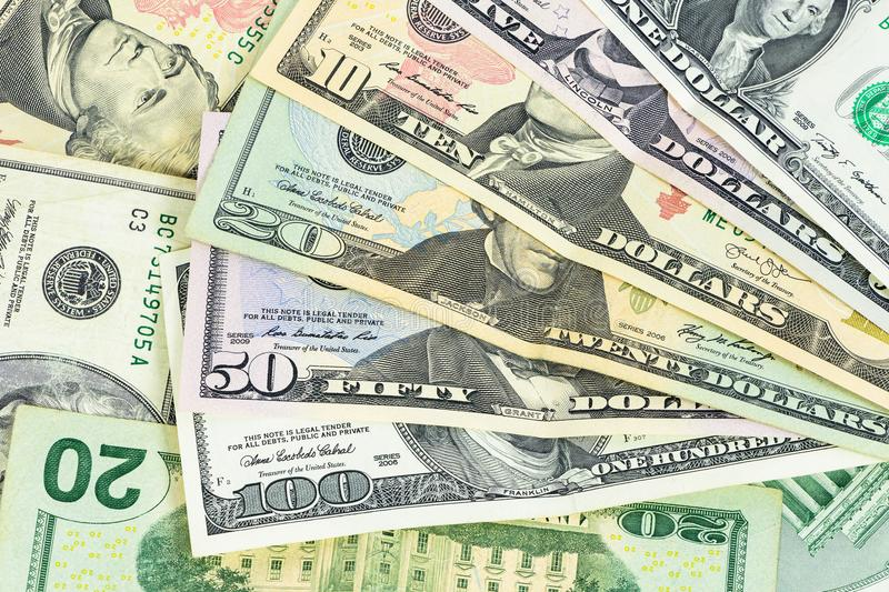 Set of us dollars banknotes stock images