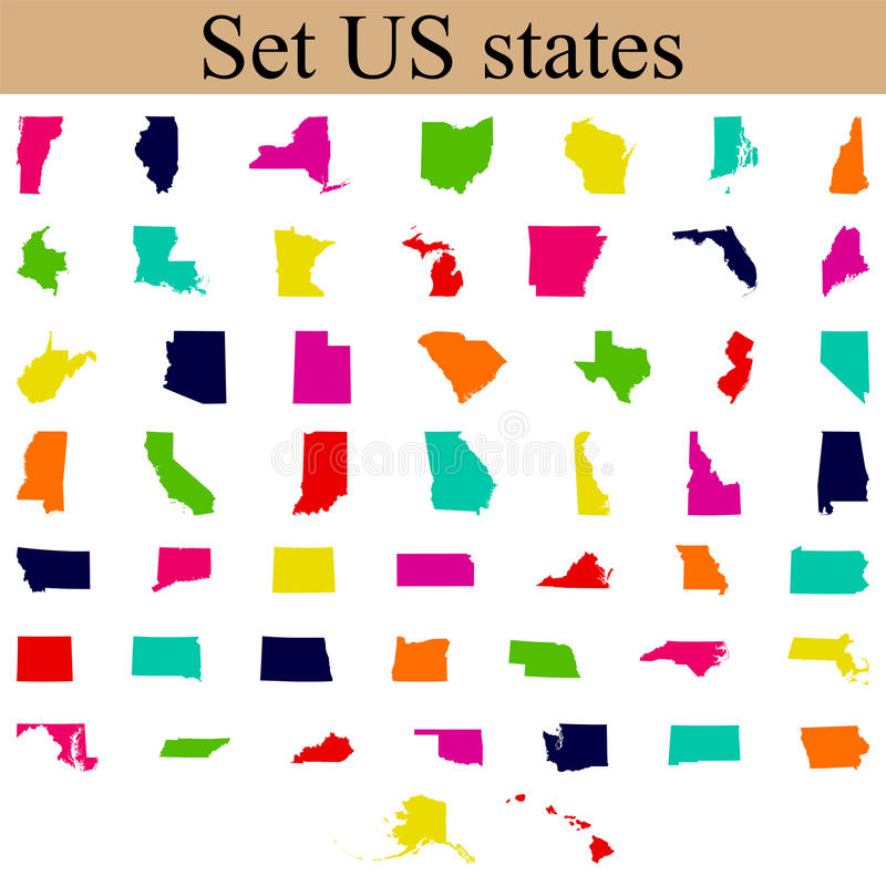 Set of US state maps royalty free illustration