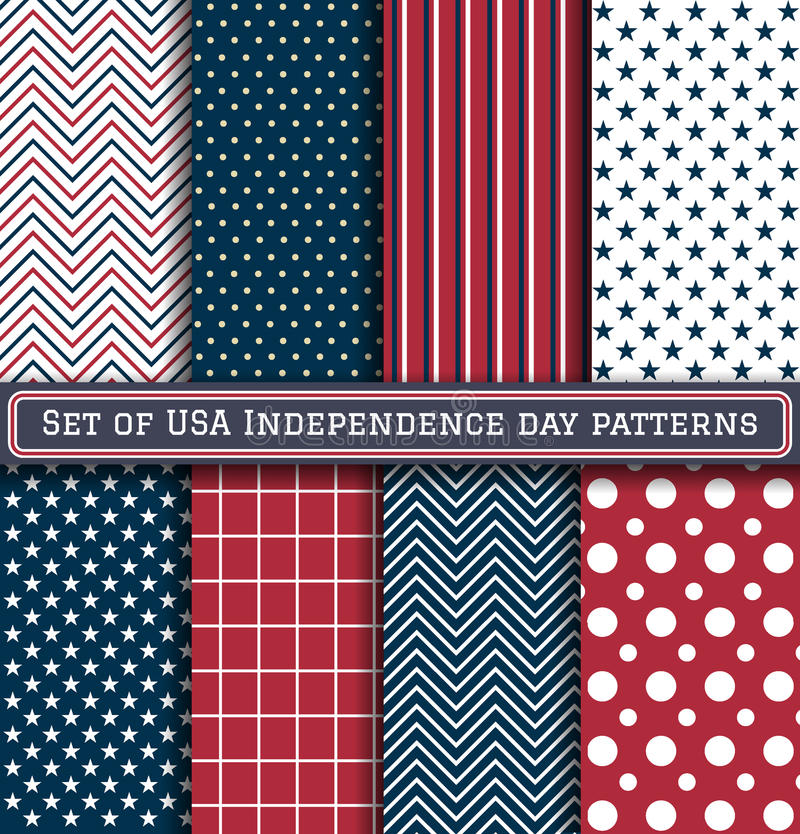 Set of USA Independence day patterns stock photo