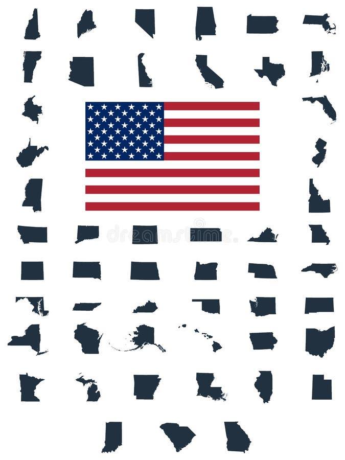 Set USA stanów mapy royalty ilustracja