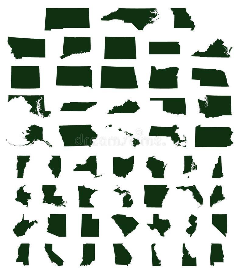 Set USA stanów mapy ilustracja wektor