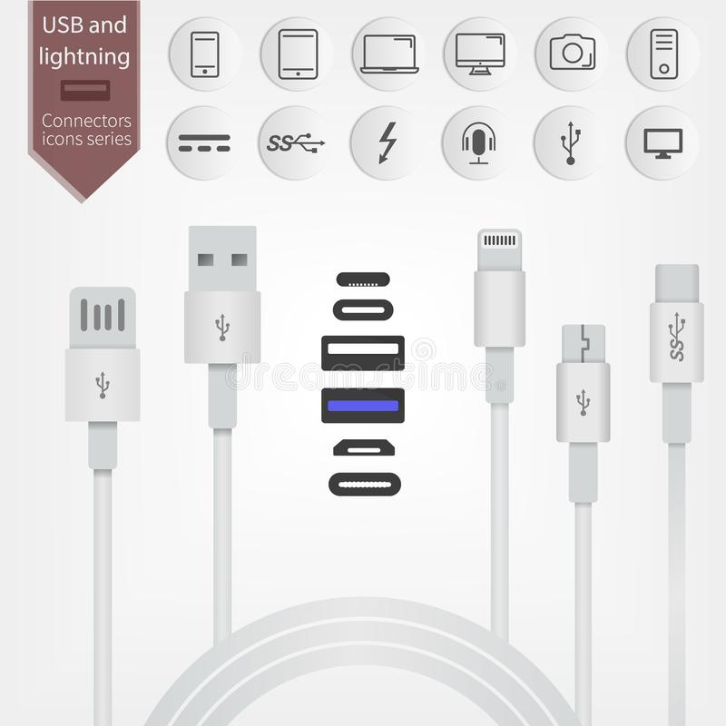 Set of USB and Lightning interfaces. vector illustration