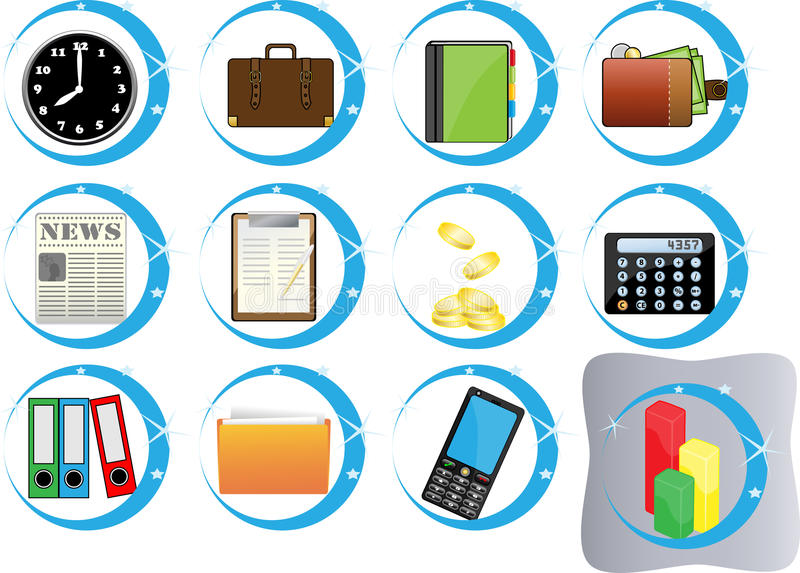 Download Set of useful buttons stock vector. Image of folder, blue - 15002341