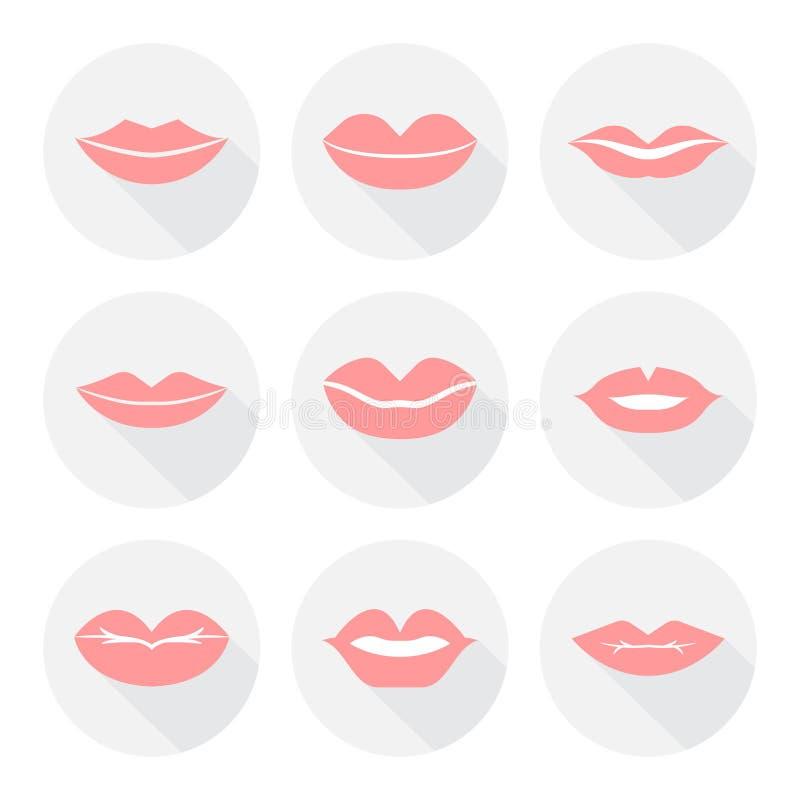 Set usta uśmiechu kobiety czerwone seksowne wargi w mieszkaniu obraz royalty free