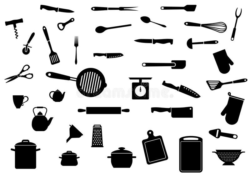 set utensils för kök royaltyfri illustrationer