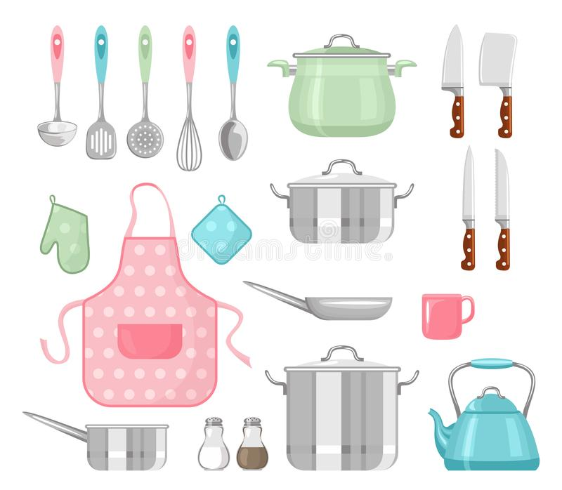 set utensils f?r k?k Laga mat hjälpmedel i enkel plan stil för tecknad film vektor illustrationer