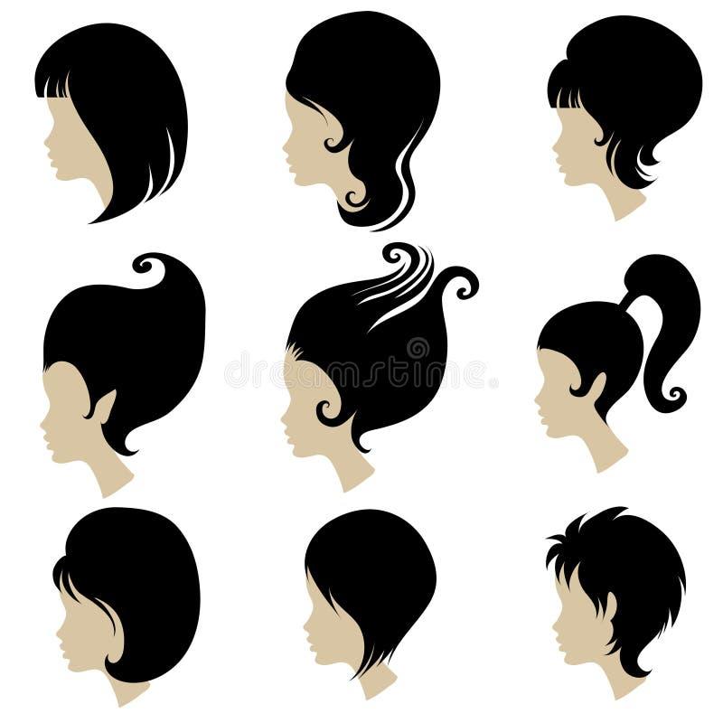set utforma vektorkvinna för svart hår stock illustrationer