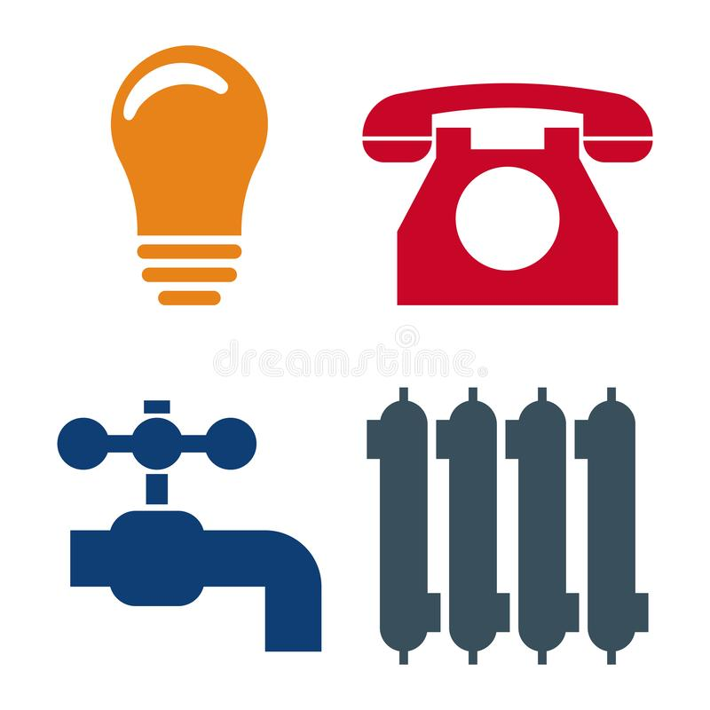 Set of 4 Utilities Icons. Symbols of Power, Water, Gas, Heating. Vector illustration for Your Design. Set of 4 Utilities Icons. Symbols of Power, Water, Gas vector illustration