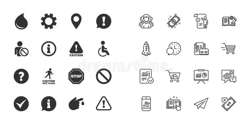 Set uwagi, informaci i ostrożności ikony, wektor royalty ilustracja