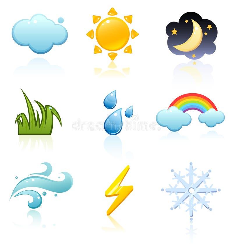set väder för symbol stock illustrationer