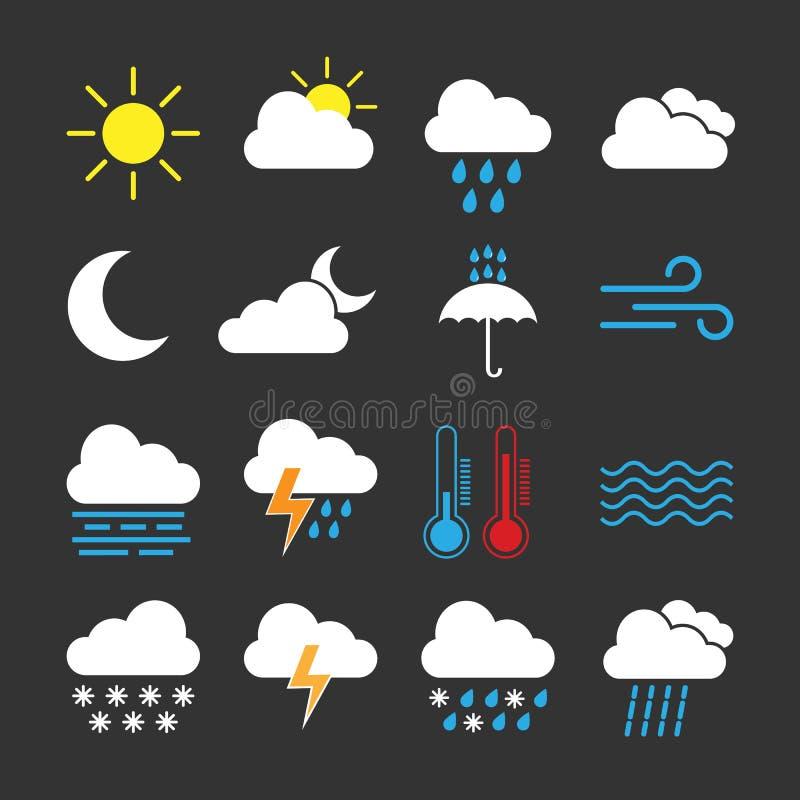 set väder för symbol Vektorillustration, lägenhetdesign royaltyfri illustrationer