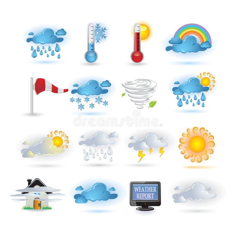 set väder för symbolsrapport stock illustrationer