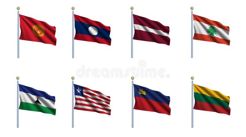 set värld för 13 flagga royaltyfri illustrationer