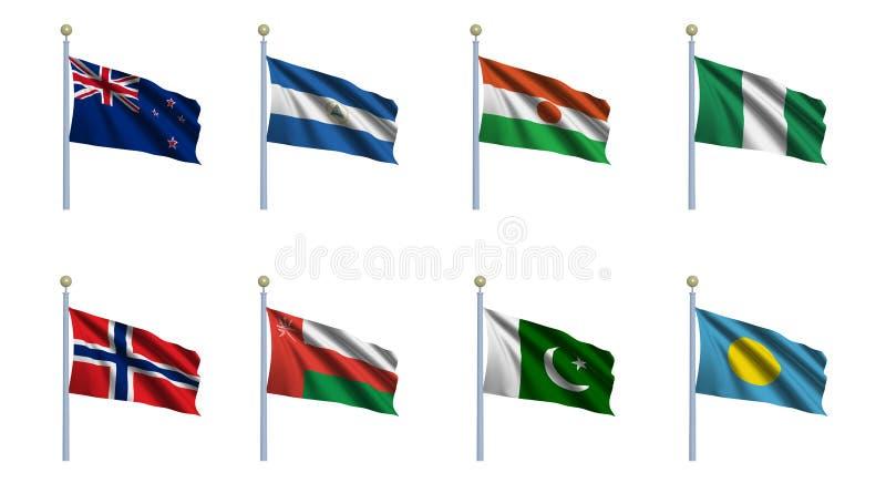 set värld för 17 flagga royaltyfri illustrationer