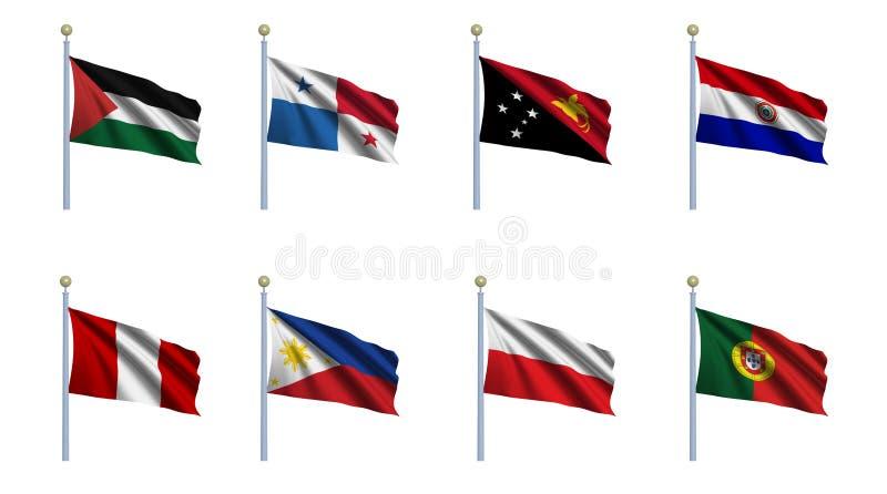 set värld för 18 flagga royaltyfri illustrationer