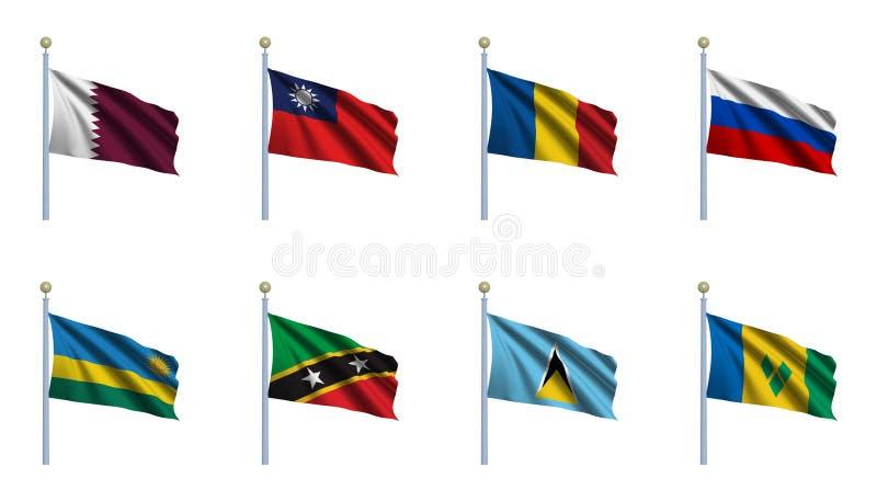 set värld för 19 flagga royaltyfri illustrationer