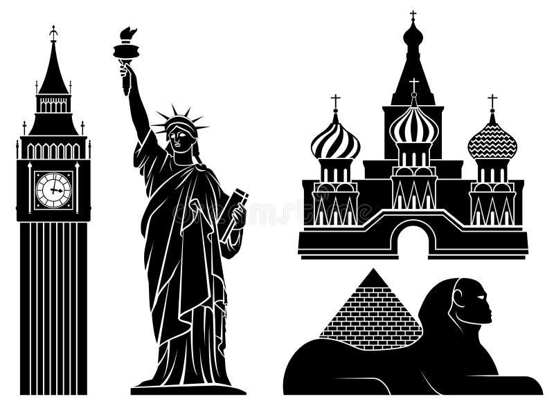 set värld för 2 berömd illustrationställen s vektor illustrationer