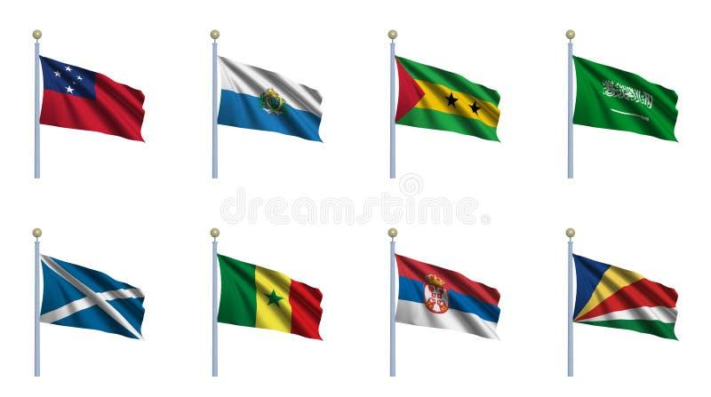 set värld för 20 flagga stock illustrationer