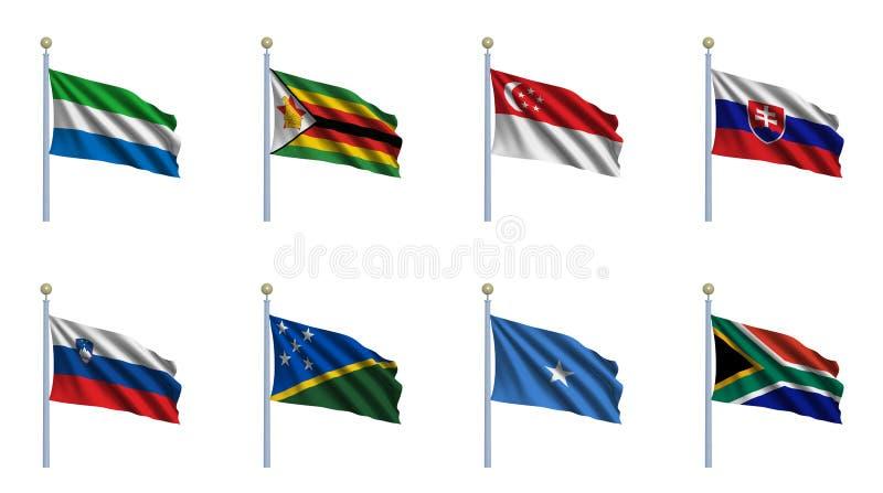 set värld för 21 flagga royaltyfri illustrationer