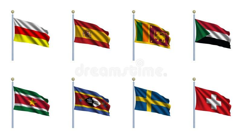 set värld för 22 flagga stock illustrationer