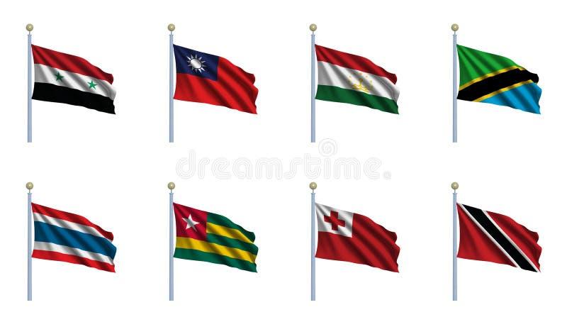 set värld för 23 flagga vektor illustrationer