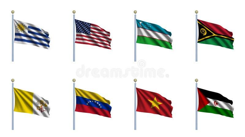 set värld för 25 flagga vektor illustrationer