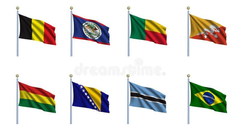 set värld för 3 flagga vektor illustrationer