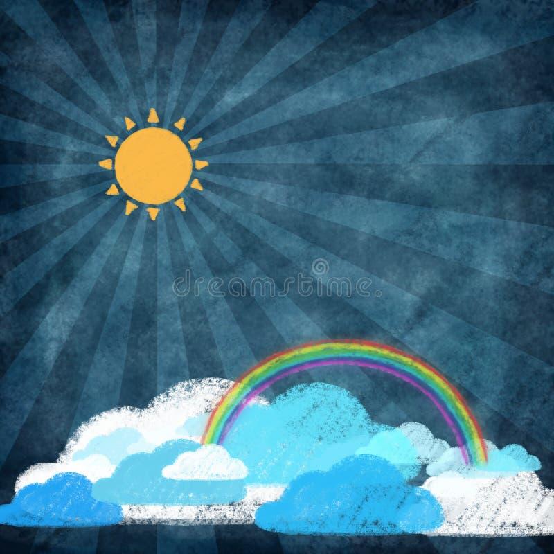 set väder för kritateckningssymbol stock illustrationer