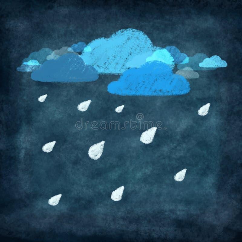 set väder för kritateckningssymbol royaltyfri illustrationer