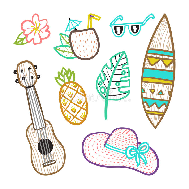 Download Set of vacation objects. stock vector. Illustration of hawaii - 92612026