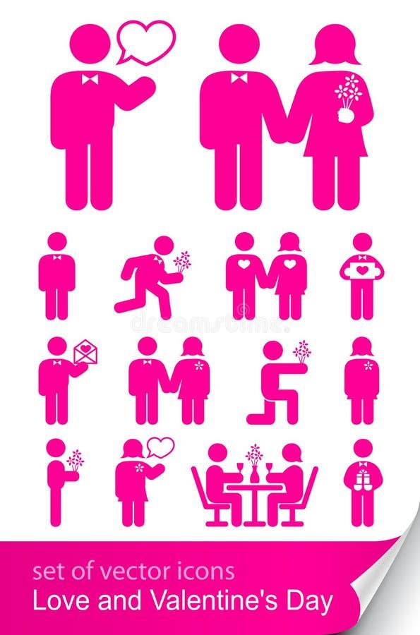 set valentin för dagsymbol s stock illustrationer