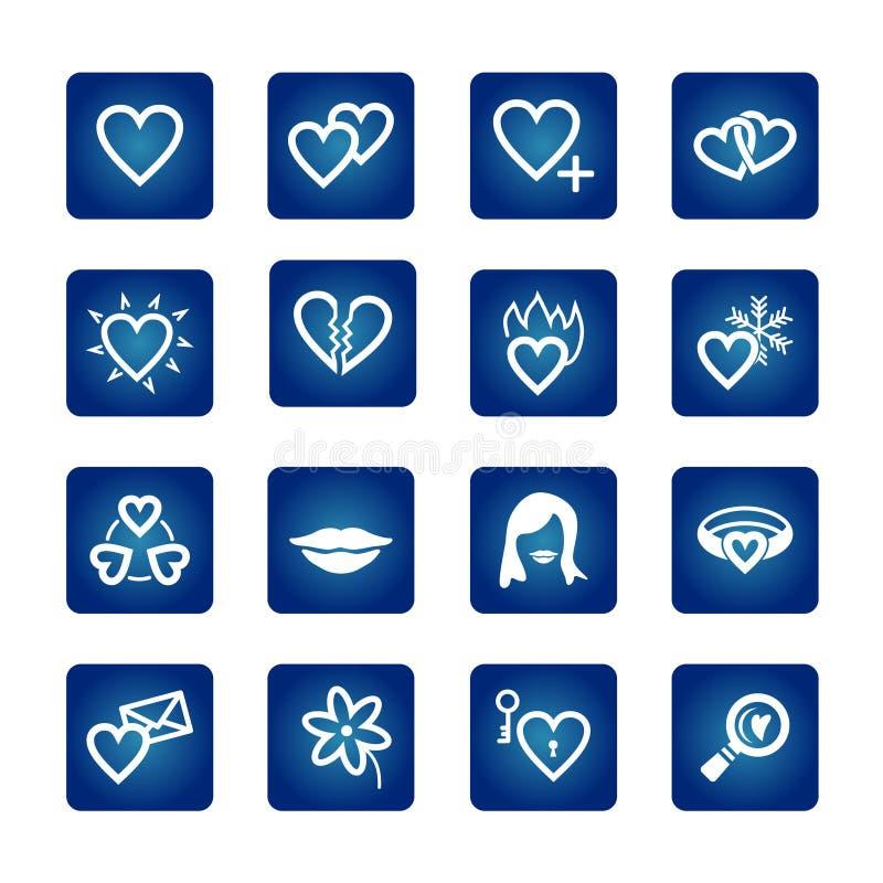 set valentin för hjärtasymbolsförälskelse royaltyfri illustrationer
