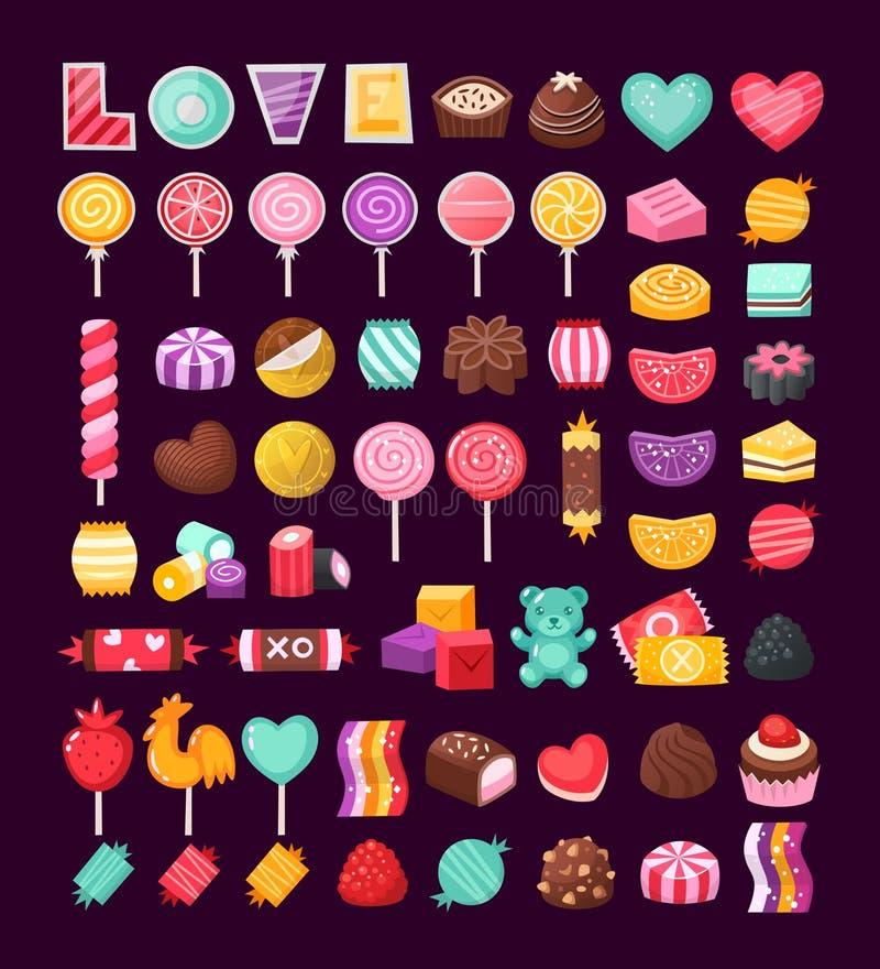 Set of Valentine candies vector illustration