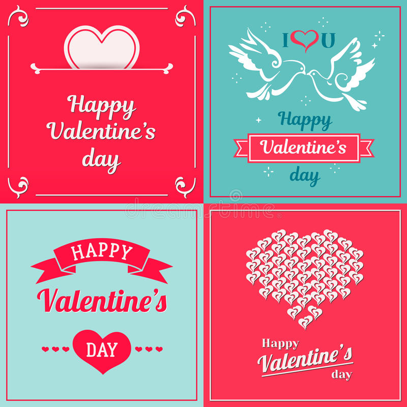 Set of Valentine cards. Greetings with Valentine`s day vector illustration