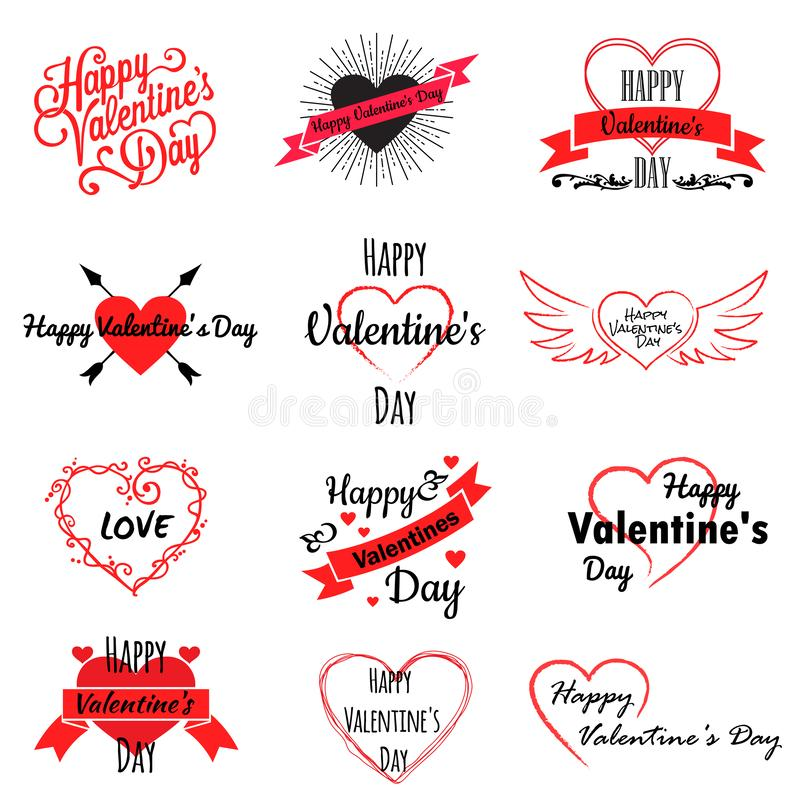Set of valentine day logos, icons with hearts and inscriptions, vector illustration. Isolated on white background royalty free illustration