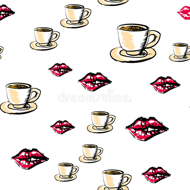 Set of valentine icons. Vector seamless pattern vector illustration