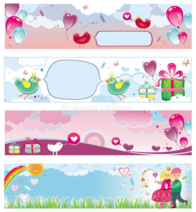 Set of Valentine's day banners 3 royalty free illustration