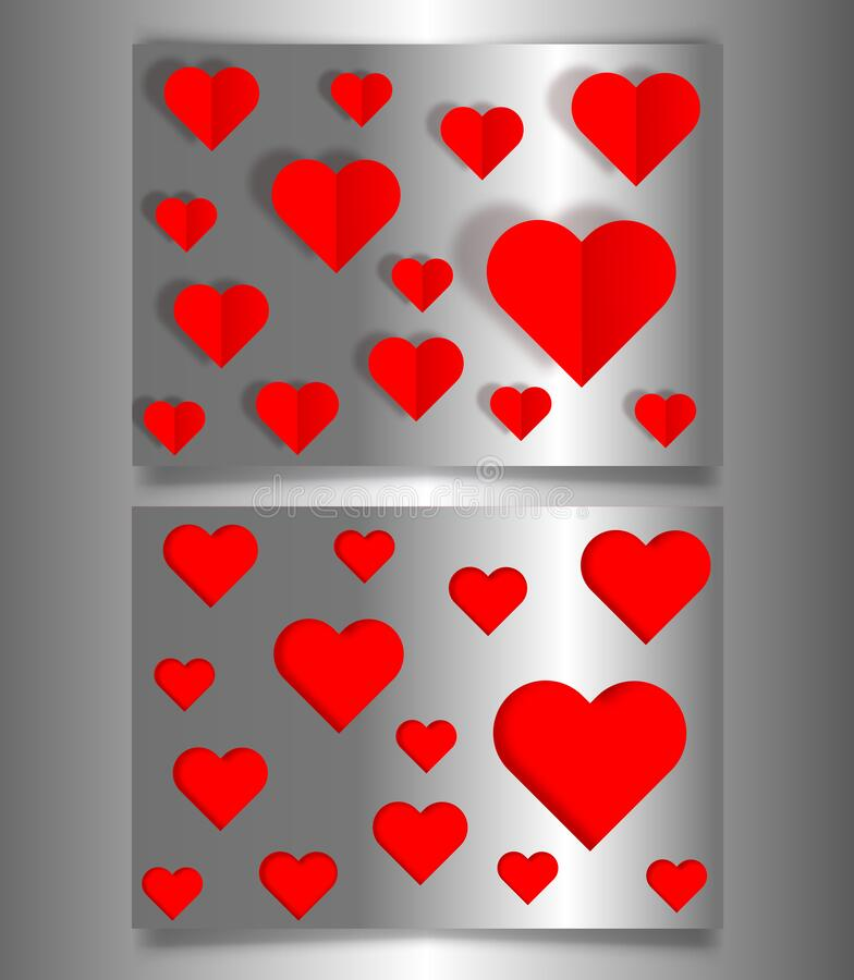 Set Valentine`s day or Mother`s day banners, silver metallic card laser cutting style and paper cut red hearts. Valentine concept vector illustration