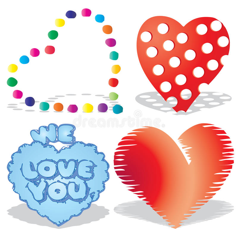 Set of valentine`s hearts, part 8, stock images