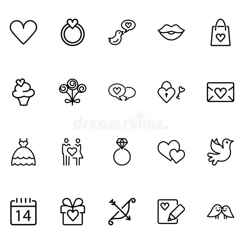 Set Of Valentine`s Related Vector Lines Icons. vector illustration