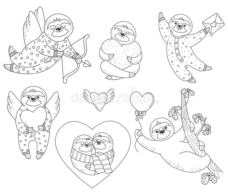 Set of valentine sloths with hearts stock illustration