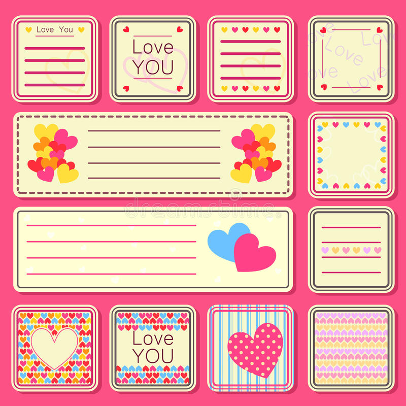 Download Set Of Valentine Small Cards Stock Illustration - Image: 28391466