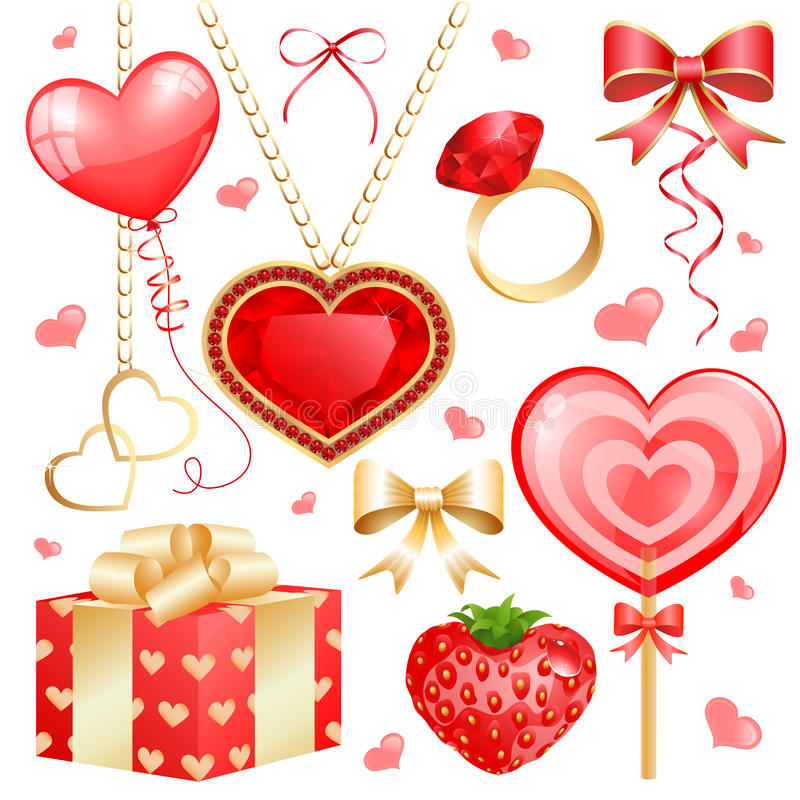 Set for Valentines day. Design elements set containing heart-shaped ruby necklace, balloon, lollipop, strawberry, ruby ring, gift box and different bows and vector illustration