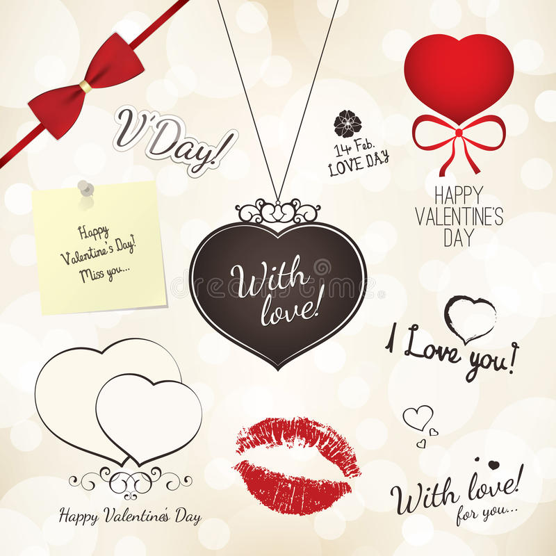 Download Set of Valentines Day stock vector. Image of devider - 27836741