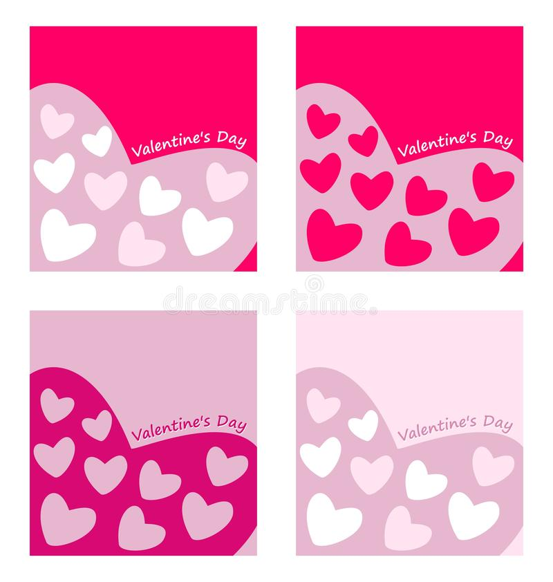 Set of 4 Valentines Day greeting with plain bright pink hearts stock images