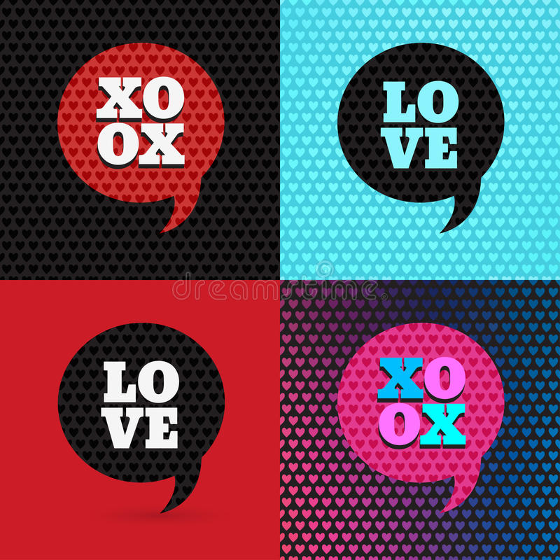 Set of 4 valentines day illustrations and typography elements stock illustration