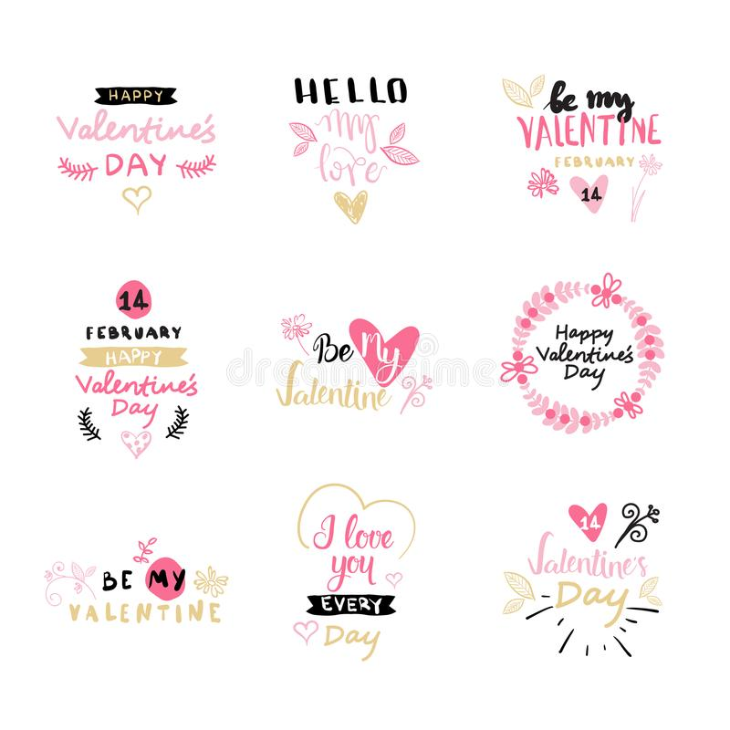 Set Of Valentines Day Typography Lettering Logo. Love Emblems Design With Hearts Hand Drawn Calligraphy Isolated vector illustration