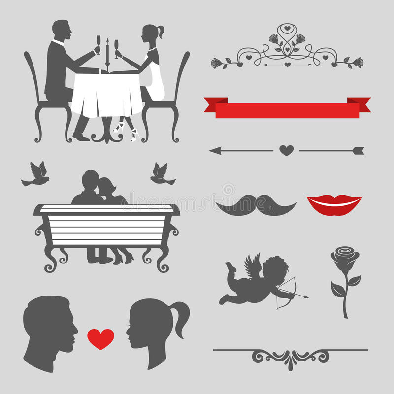 Set of valentines day and wedding vintage design elements stock illustration