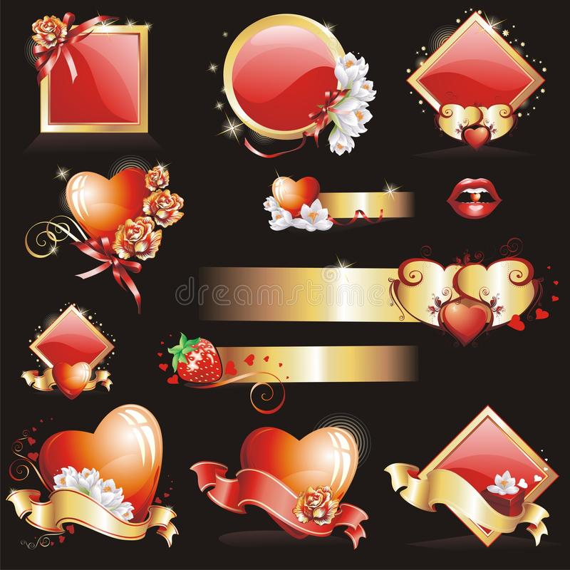 Set With Valentines Design Stock Images