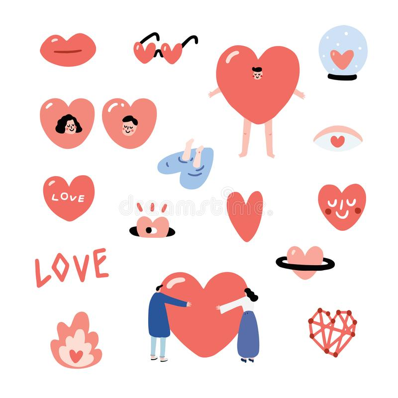Set of Valentines hand drawn vector illustration with sunglasses,glass ball,man, girl,people hug,smiley. Heart character set. vector illustration